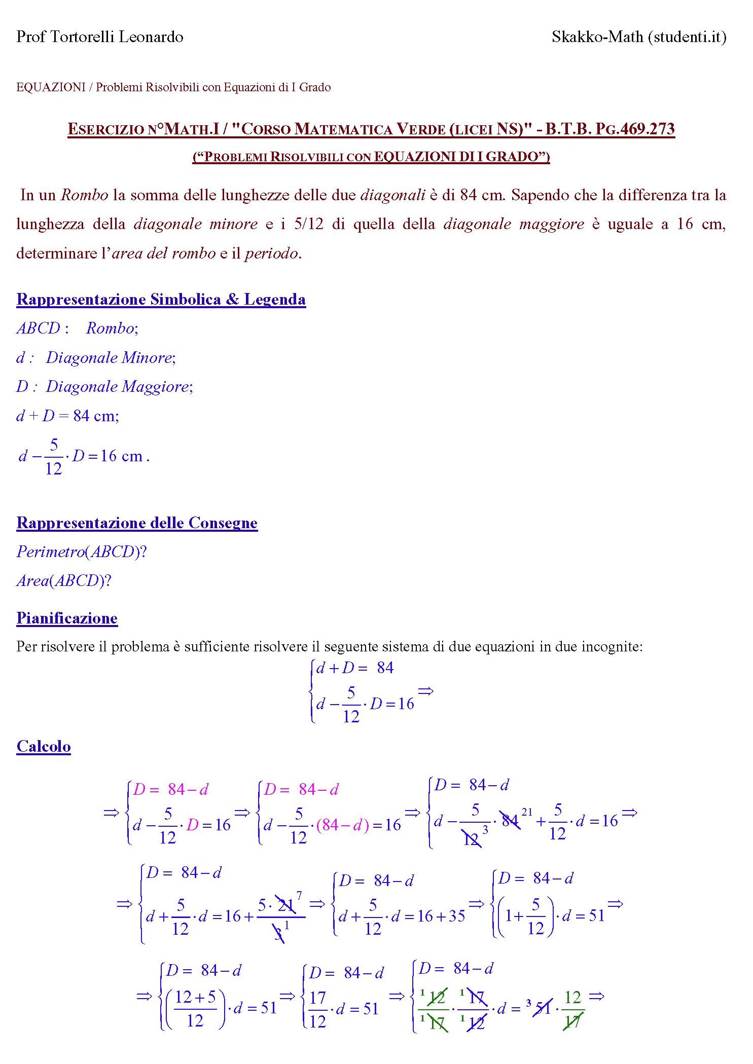 Problemi risolvibili con equazioni di primo grado ex 469 for Problemi di primo grado a due incognite esercizi