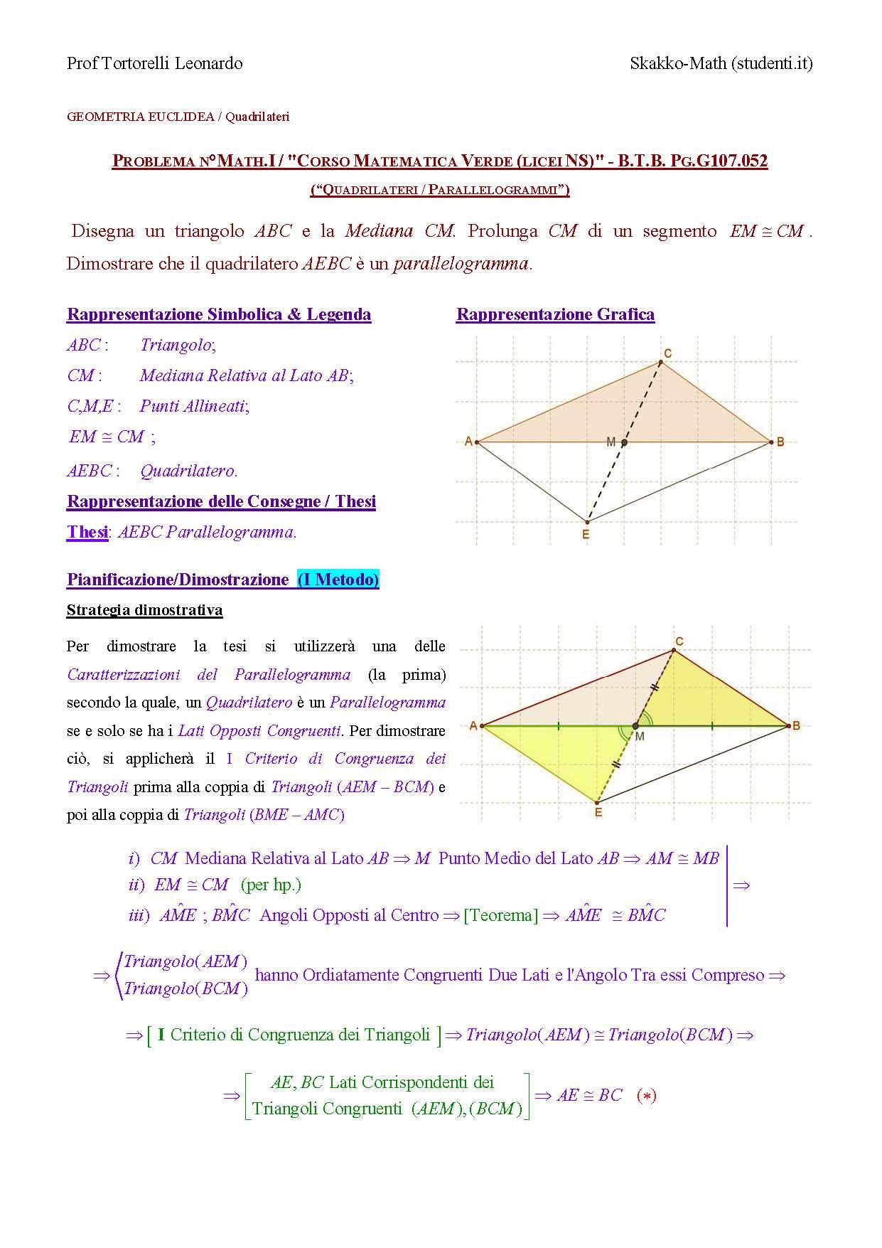 Geometria Problemi Sui Quadrilateri Parallelogrammi G107052